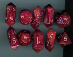 Hybrid Poly Set Red w/Gold (10)