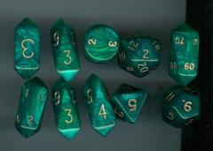Hybrid Poly Set Green w/Gold (10)