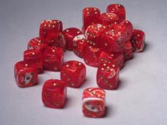 D6 12mm Red w/Gold (27)