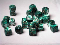 D6 12mm Green w/Gold (27)