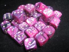 D6 12mm Pink & Black w/Gold (27)