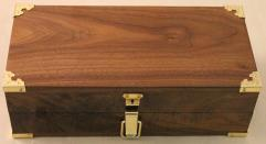 Premium Dice Chest - Black Walnut, Brass Hardware w/Green