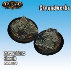 40mm Groundwerks Base Inserts - Blasted Ruins