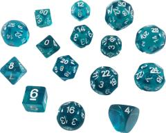 RPG Step Dice - Translucent Blue w/White (15) (2018 Edition)