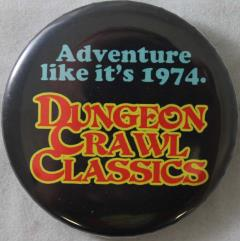 DCC RPG Button - Adventure Like it's 1974 (Black)