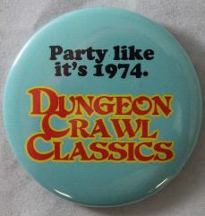DCC RPG Button - Adventure Like it's 1974 (Blue)
