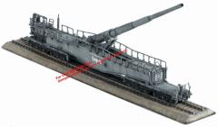 "German Railway Gun 28cm K5€ ""Leopold"" w/Straight and Turnout Track - 4 Piece Assortment"