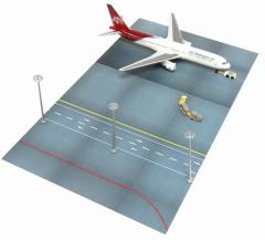 Airport Terminal Set F - Air Madagascar 767-300 w/Runway, Lampposts, & Support Vehicles
