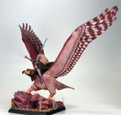 Giant War Eagle w/Female Elven Rider