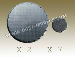 Round Bases - Treadplate Surface, German Gray