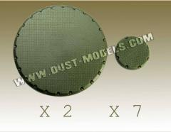 Round Bases - Treadplate Surface, Army Green