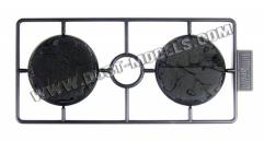 50mm Round Bases - Cracked Ground, Black