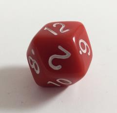 Diamond Faced d12 - Red w/White