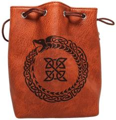 Brown Leather Dice Bag - Ouroboros