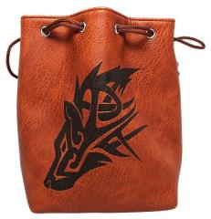 Brown Leather Dice Bag - The Wolf