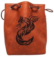 Brown Leather Dice Bag - Celtic Knot Dragon