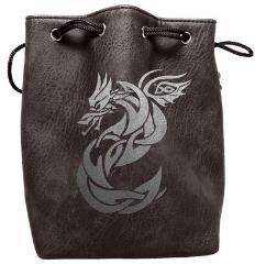 Black Leather Dice Bag - Celtic Knot Dragon