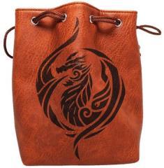 Brown Leather Dice Bag - Dragon's Breath