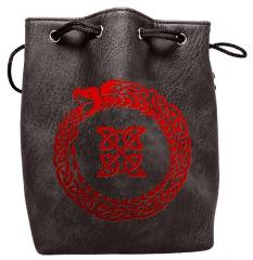 Black Leather Dice Bag - Ouroboros