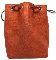 Brown Leather Dice Bag - Plain