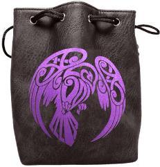 Black Leather Dice Bag - Raven