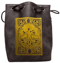 Black Leather Dice Bag - Spell Book