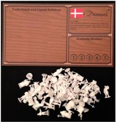 Denmark Player Board w/White Figures