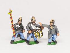 Austrian Infantry Command - German Officer, Standard Bearer & Drummer Advancing