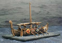 Viking Style Boat w/Single Furled Sail