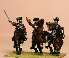 Cuirassier in Tricorne w/Officer, Standard Bearer, & Trumpeter