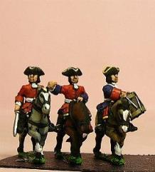 Dragoons in Tricorne w/Officer, Standard Bearer, & Drummer