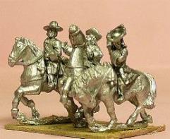 Cavalry/Dragoons in Wide Brim Hats w/Officer, Standard Bearer, & Trumpeter