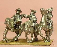 Cavalry/Dragoons in Wide Brim Hats w/Officer, Standard Bearer, & Drummer