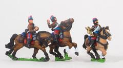 Cavalry Command - Hussar Officer, Standard Bearer, & Trumpeter in Long Jacket & Kepi