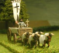 Carroccio - 4 Wheeled Religious Wagon w/Alter Mast, Large Banner, & Praying Monk, Pulled by 4 Oxen