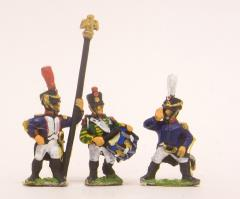 Command Pack - Officers, Standard Bearers & Drummers Advancing