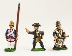 Fusilier Officer, Standard Bearer w/Bare Flagpole, & Drummer