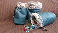 Blue w/Grey Fur Dice Bag
