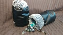 Black w/Grey Fur Dice Bag