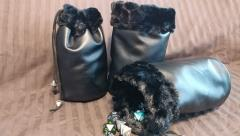 Black w/Black Fur Dice Bag