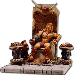 Barbarian King on Throne w/War Dog