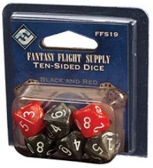 d10 Marble Black/Red w/White (6)