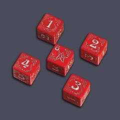 Arkham Horror Cursed Dice Set - Red w/Silver (5)