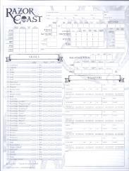 Razor Coast - Character Sheets (Pathfinder)