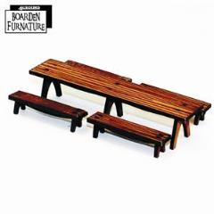 Long Trestle Table w/Long Benches - Light Wood