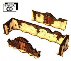 Arabic Village Walls w/Tall Walls & 2 Gates (Pre-Painted)