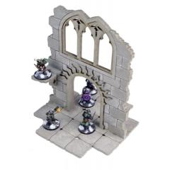 Frozen City Ruins - Two-Storey Wall w/Arched Door (Pre-Painted)
