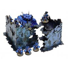 2x L-Shaped Necrotek Ruin (Blued Steel) (Pre-Painted)