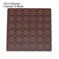 15mm Round Bases - Brown (Primed)