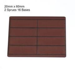 20 x 60mm Rectangle Bases - Brown (Primed)